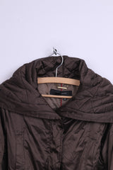 Zara Woman Womens M Jacket Brown Padded Shiny Belted Warm Top