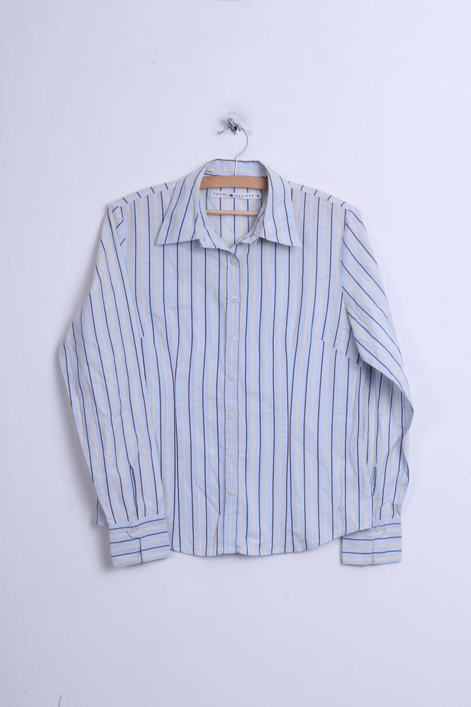 Tommy Hilfiger Womens 10 M Casual Shirt Striped Blue 2 Button Collar Bend - RetrospectClothes