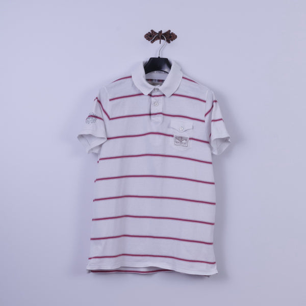 Ben Sherman Mens XL (L) Polo Shirt White Cotton Striped Eyre Street Hill Top
