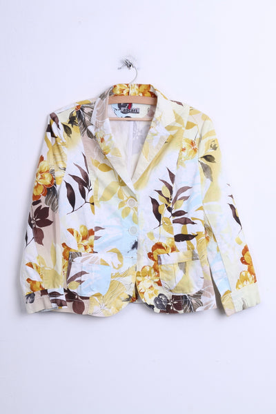 Ascari Womens 38 M Blazer Flowers Print Top Suit Yellow - RetrospectClothes