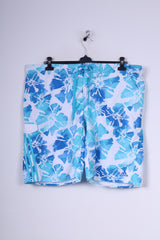 Adidas Mens XL Shorts Swimpants Blue Sportswear Flower Print Mesh Lined Beach