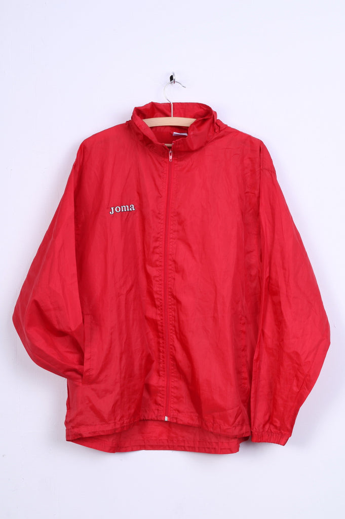 JOMA Womens M Jacket Red Hooded Top Full Zip Stand Up Collar