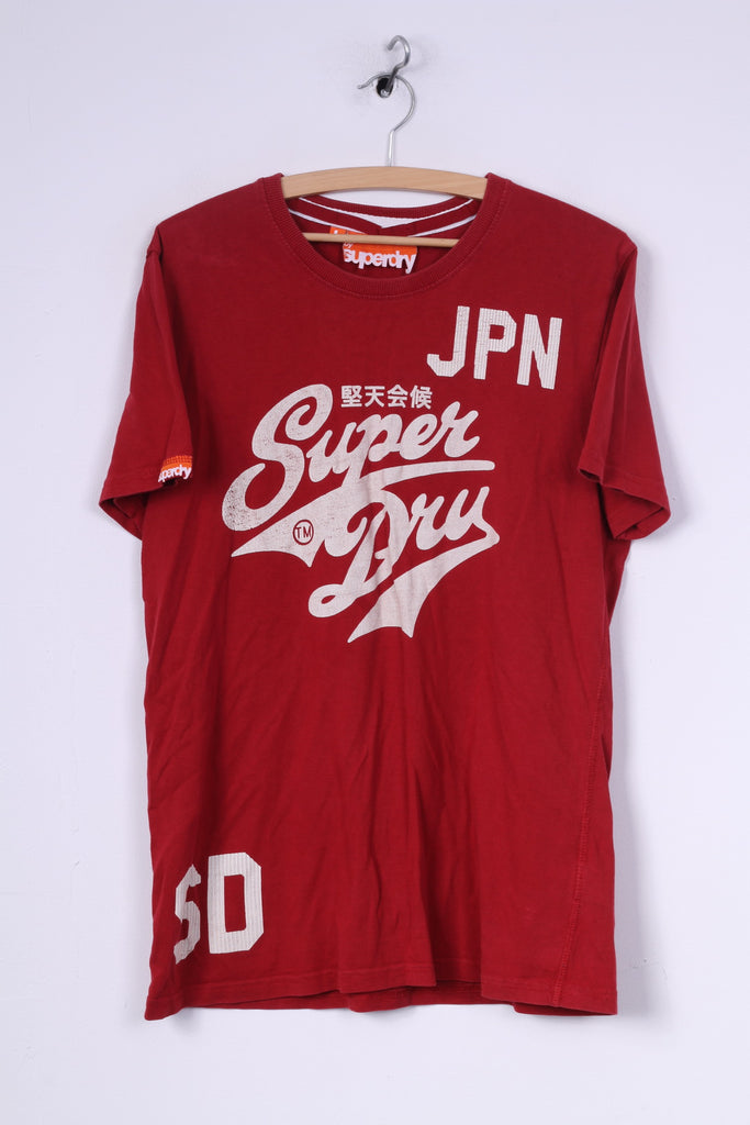 Superdry Mens L T-Shirt Graphic Cotton Red Crew Neck Top