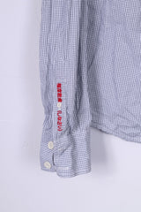 Superdry Mens L Casual Shirt White Check Long Sleeve Cotton Top