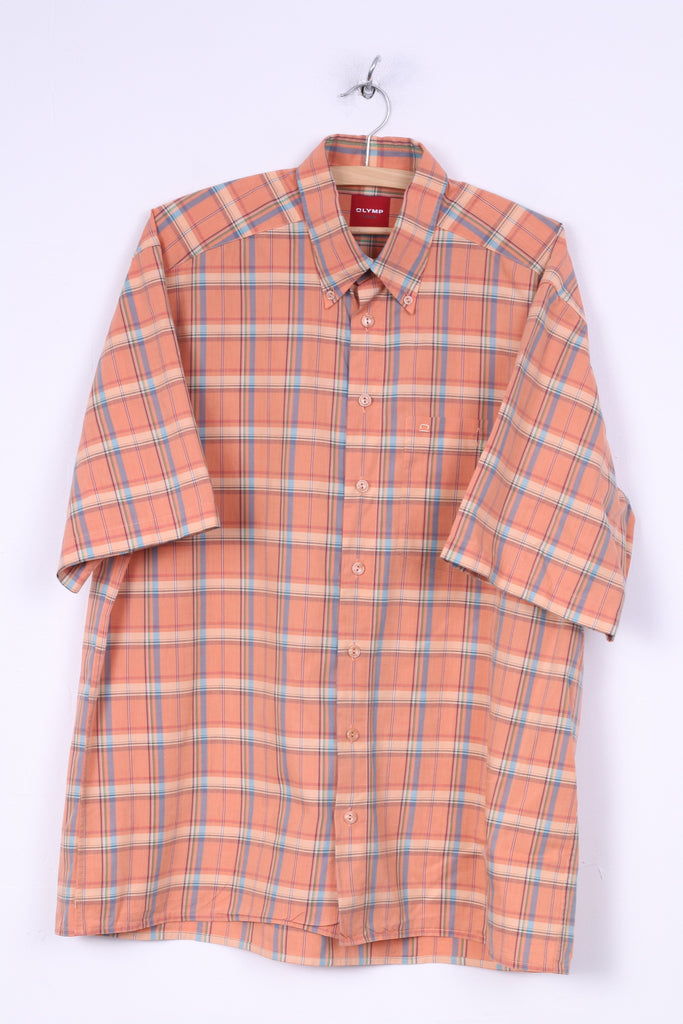 Olymp Mens L Casual Shirt Short Sleeve Orange Button Down Collar Check