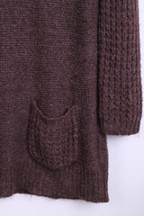 New Look Womens 14 L/XL Jumper Long Sweater Walnut Crew Neck - RetrospectClothes