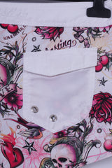 New Yorker Womens S Shorts White Skulls Love Never Dies Printed