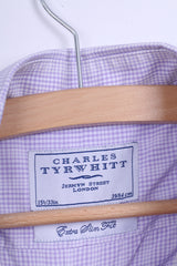 Charles Tyrwhitt Mens M 39 Casual Shirt Check Cotton Purple Long Sleeve