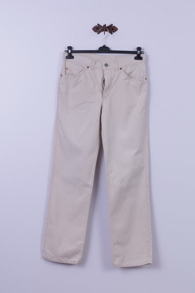 Mustang Mens W34 L32 Trousers Beige Jeans Cotton Basic Straight Leg Pants