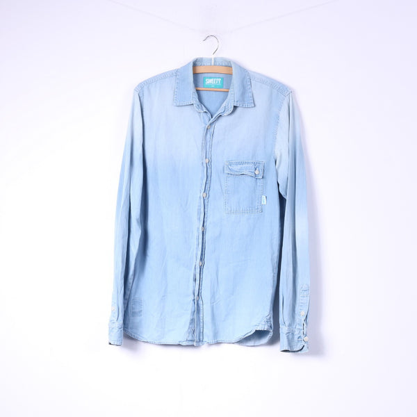 Sweet Mens S Casual Shirt Denim Light Blue Jeans Cotton Top