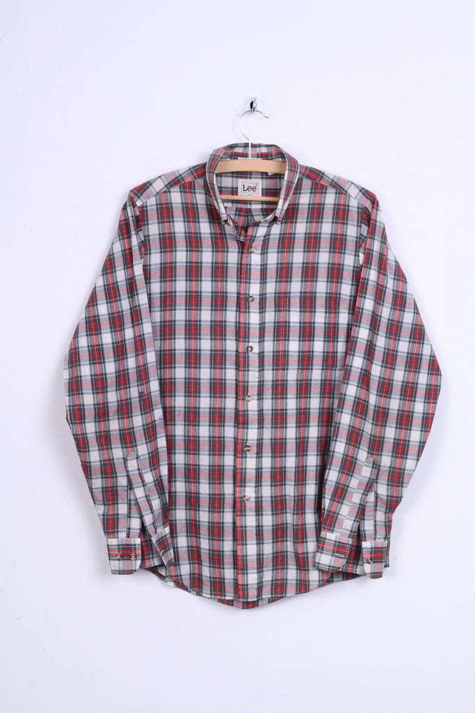 Lee Mens M Casual Shirt Long Sleeve Check Red Cotton Button Down Collar