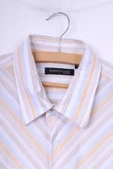 Kenneth Cole Mens XL Casual Shirt White Striped Cotton Top Short Sleeeve