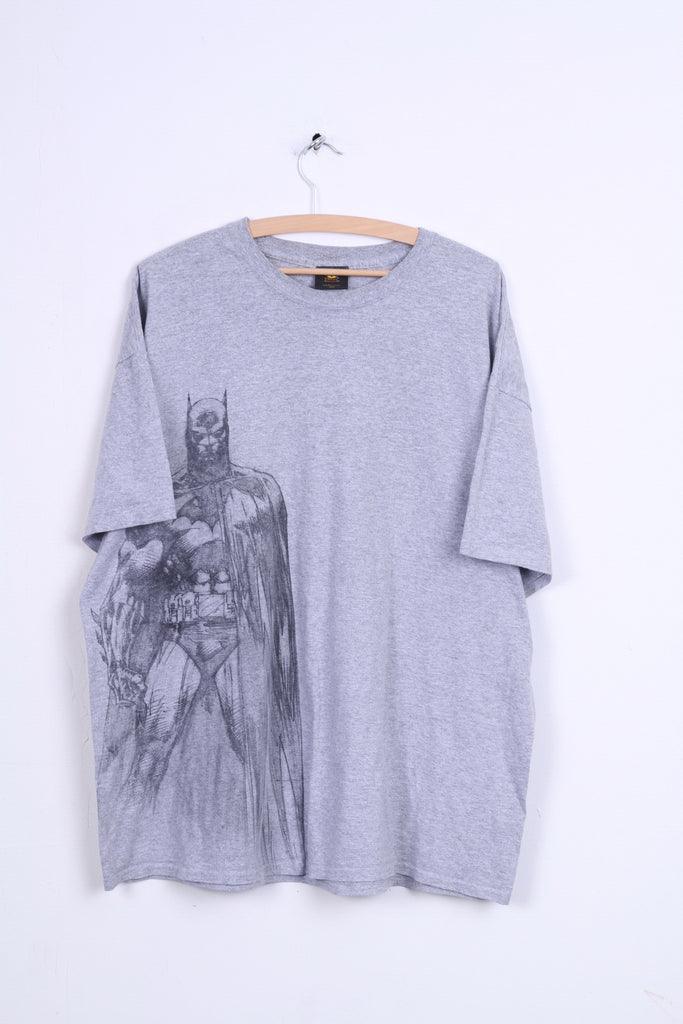 GILDAN Batman Mens 2XL Graphic Shirt Grey Cotton