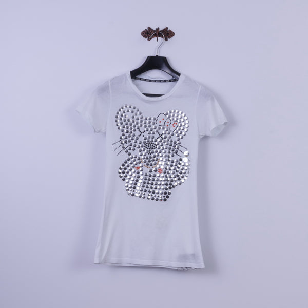 IOD By Steven Trussell Womens L (S) Shirt White Silver Bear Long Fit Top