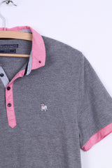 The Spitalfields Shirt CO Mens M Polo Shirt Grey Dog Bulldog Cotton