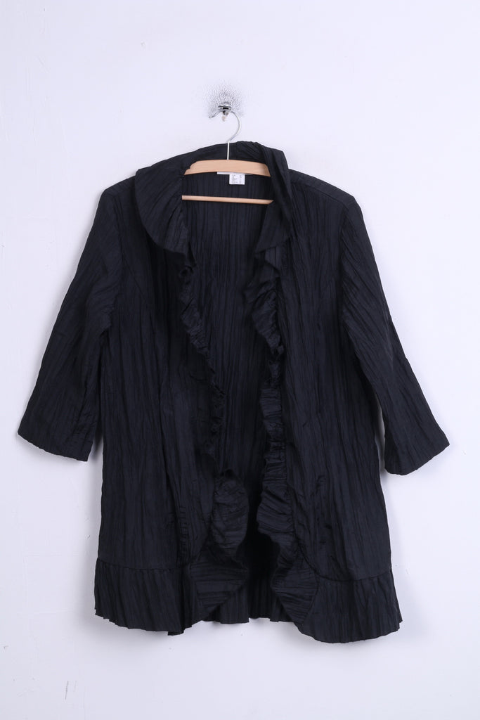 Allessa W.Collection Womens 16 XXL Blouse Ruffle Black Vintage