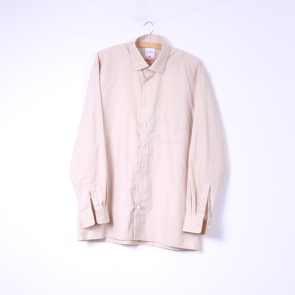 Olymp Luxor Mens 16.5'' 42  XL Casual Shirt Beige Long Sleeve Cotton Top