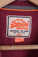 Vintage Superdry Mens L (S) T-Shirt  Burgundy Cotton Universal Tee Shirt