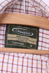 Champion Mens M Casual Shirt Check Cream Classic Fit Tattersall Top