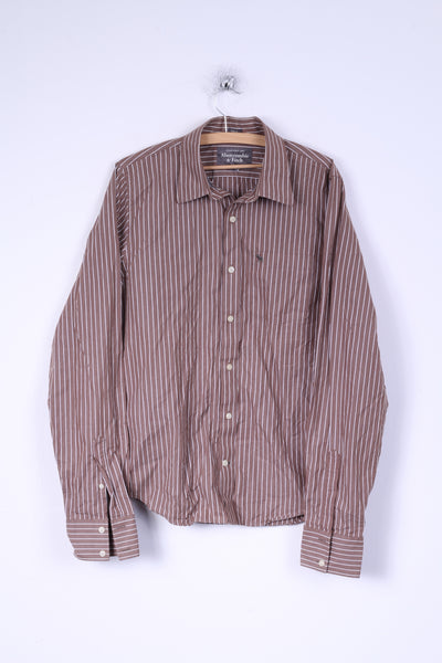 Abercrombie & Fitch Mens L Casual Shirt Brown Striped Cotton Muscle