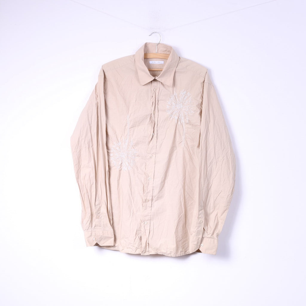 Nigel Hall Mens XL Casual Shirt Beige Embroidered Flowers Cotton Long SLeeve