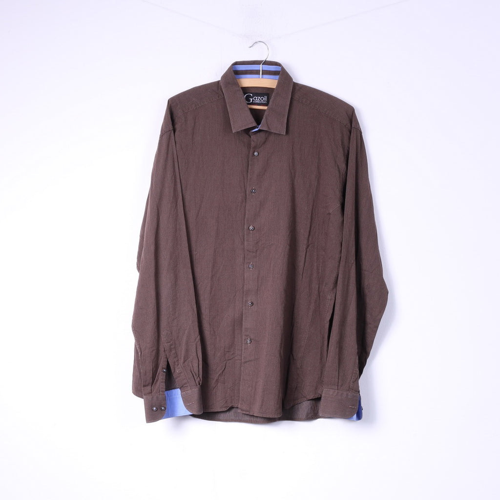 Gazoil Collection Mens L Casual Shirt Brown Micro Check Long Sleeve  Top Cotton
