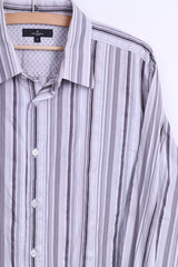 Jeff Banks London Mens L Casual Shirt Striped Cotton White - RetrospectClothes