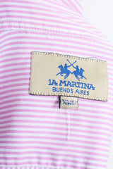 La Martina Mens XXL Casual Shirt Striped Pink Cotton Buenos Aires - RetrospectClothes