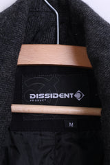 DISSIDENT Mens M Jacket Double Breasted Dark Grey Wool - RetrospectClothes