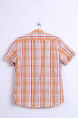 Fundamentals Mens L Casual Shirt Check Orange Pure Cotton Top - RetrospectClothes