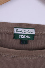 Paul Smith Jeans Mens L Shirt Long Sleeved Khaki Cotton Top