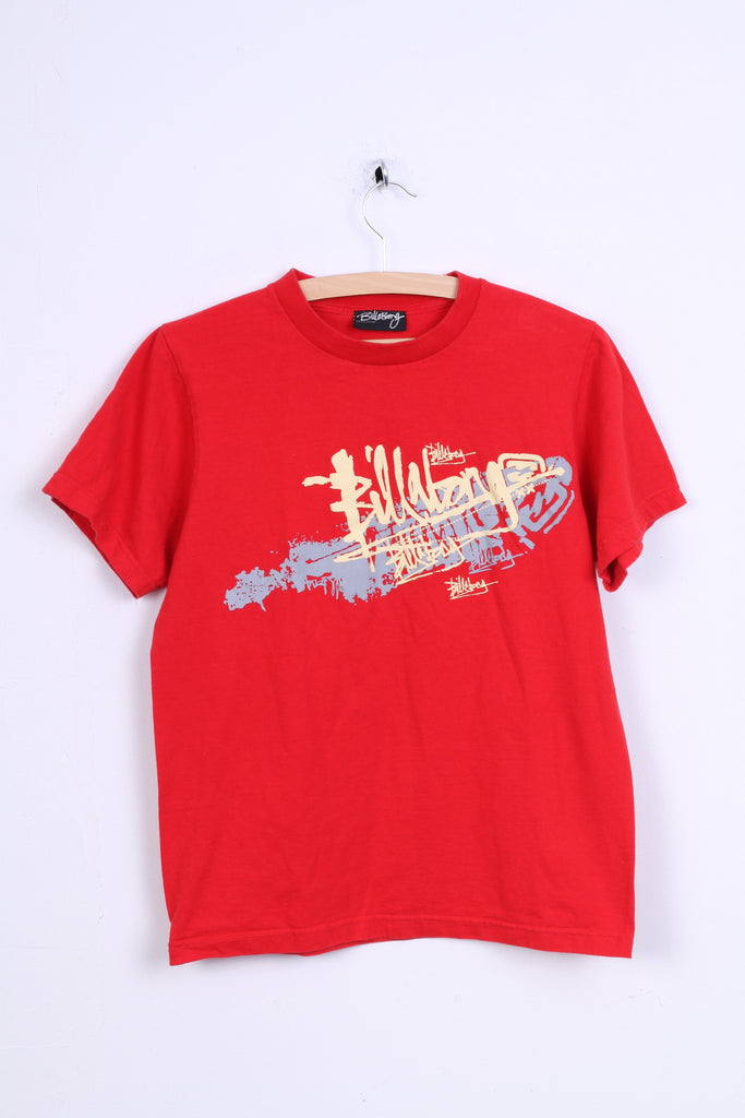 Billdbong Mens M Graphic Shirt Red Cotton Crew Neck
