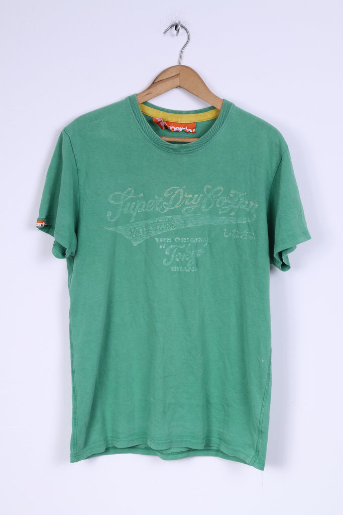 Superdry Mens SM T-Shirt Green Cotton Tokyo Shirt Top