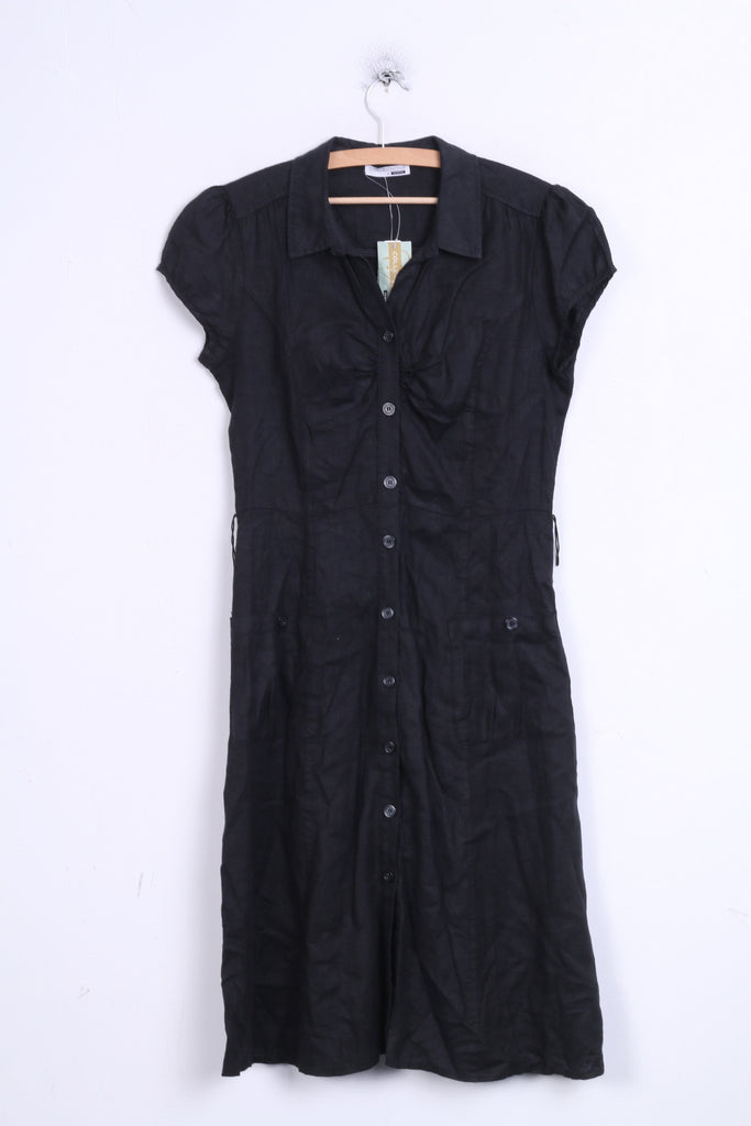 Collection at George Womens 10 Dress Linen Black Single Breasted - RetrospectClothes