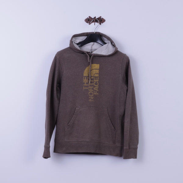 The North Face Mens XS Sweatshirt Brown Cotton Graphic Logo Kangaroo Pocket Hoodie