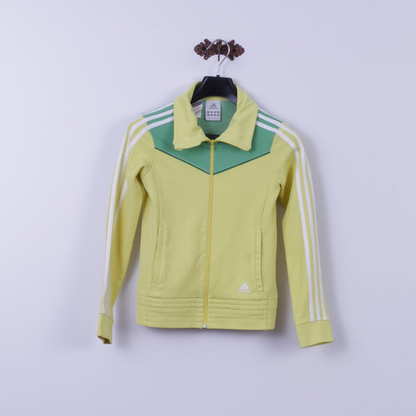 Adidas Girls 14 Age 164 Sweatshirt Yellow Zip Up 3 Stripe Track Top Unisex