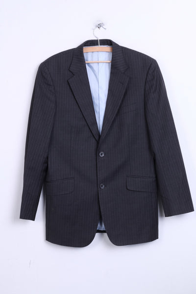 T.M.Lewin Mens 38R M Jacket Blazer Merino Wool Dark Grey Striped - RetrospectClothes