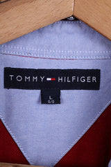 Tommy Hilfiger Mens L Polo Shirt Long Sleeved Red Cotton Top