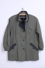 MAY Womens 44 2XL Jacket Green Check Cotton Vintage - RetrospectClothes