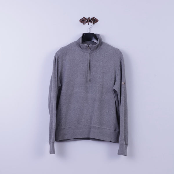 Ben Sherman Mens M Sweatshirt Grey 100% Cotton Zip Neck Classic Plain Top