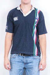 Canterbury of New Zealand Mens M Polo Shirt Navy Blue RBS Nations Cotton - RetrospectClothes