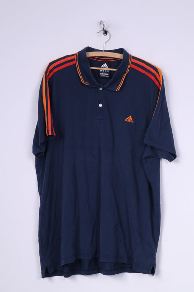 Adidas Mens 2XL Polo Shirt Short Sleeve Top 3 Stripe Navy Sportswear