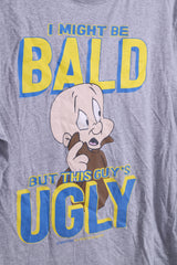 George Looney Tunes Mens M T-shirt Grey I Might Be Bald Cotton
