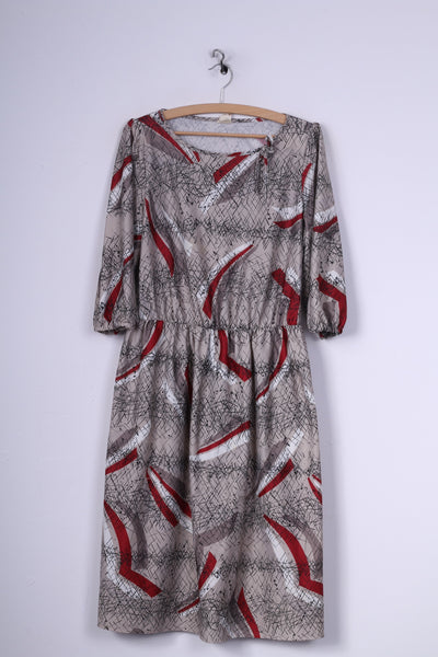 Vintage Womens L Midi Dress Abstract-Print Grey Crew Neck Short Sleeve