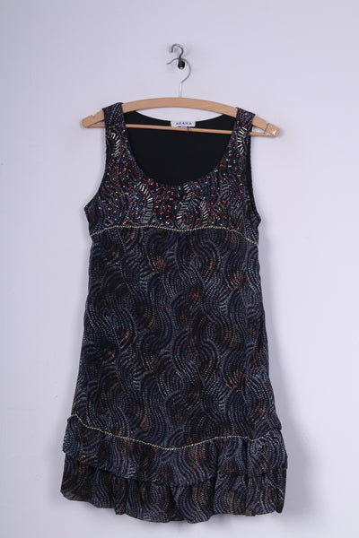 AZARA Womens S/M Mini Dress Sleeveless Navy Flounce