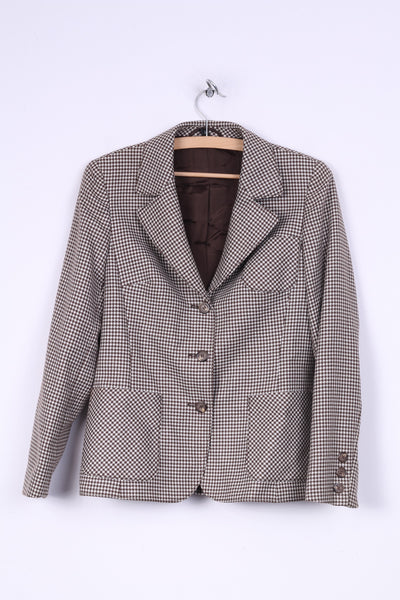 Gelco Trevira Womens 38 S Skirt Suit Houndstooth Single Breasted 2 Pices Blazer Midi Skirt Brown Vintage