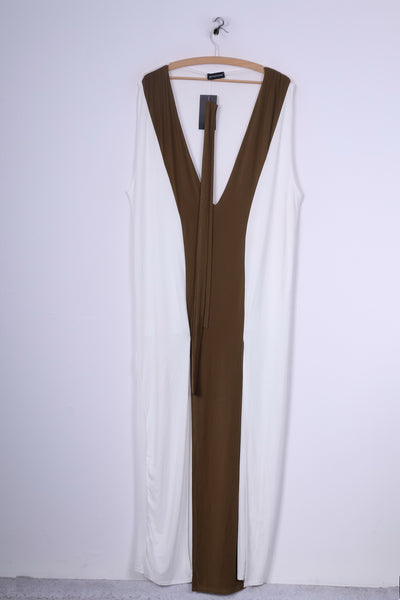 New Prettylittlething Womens 14 XL Dress Maya Cream Belted Maxi Sleeveless V Neck