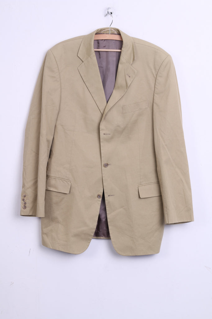 Bonomi Mens 98 L Blazer Jacket Top Suit Beige Single Breasted Cotton - RetrospectClothes