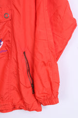 Loffler Mens 48 S Jacket Anorak Orange Nylon Waterproof Kangaroo Pocket Hood - RetrospectClothes
