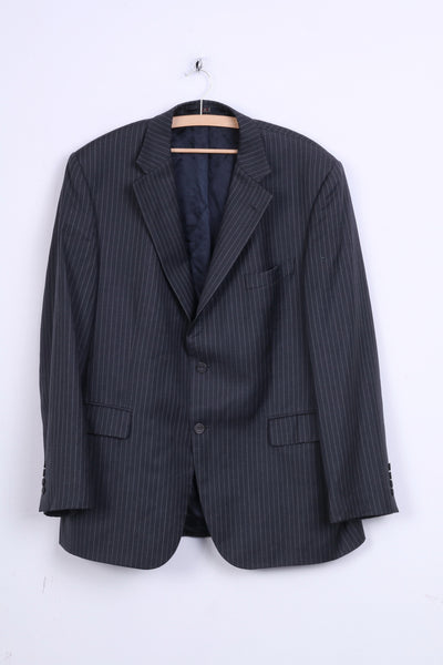 DAKS London Mens 54 XL Jacket Grey Striped Blazer Single Breasted